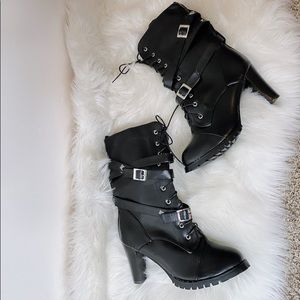 NWT Black Lace Up Buckle Heeled Tall Boots
